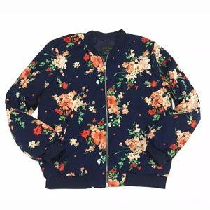 Love Tree Bomber Jacket Floral Satin Black